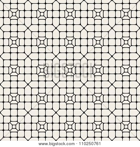 Vector Seamless Black And White Abstract Geometric Rounded Pavement Pattern