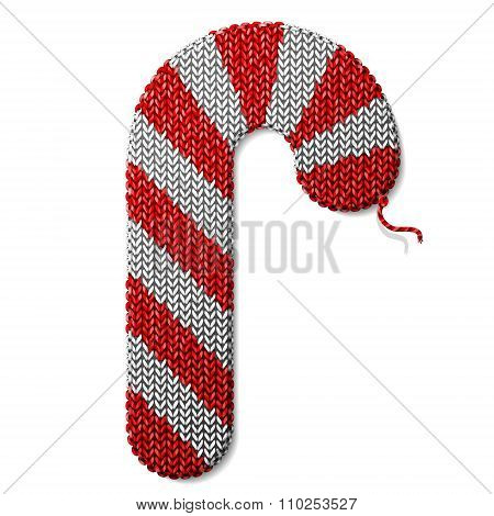 Candy Cane Of Knitted Fabric Isolated On White Background
