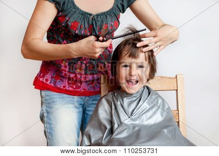 Cute Little Boy, Having Haircut, Smiling Happily