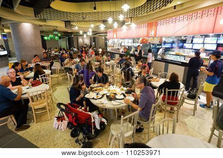 SINGAPORE - NOVEMBER 08, 2015: interior of food court of The Shoppes at Marina Bay Sands. The Shoppes at Marina Bay Sands is one of Singapore's largest luxury shopping malls