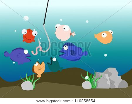 Vector Illustration Fish Tank Colorful Hook Concept
