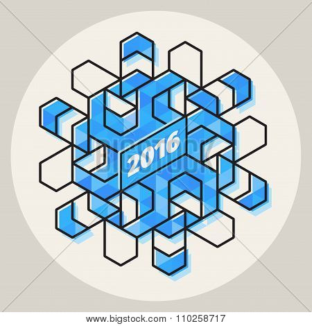 Vector New Year 2016 Geometric Blue Snowflake Shape In Circle With Line Art Stroke Offset