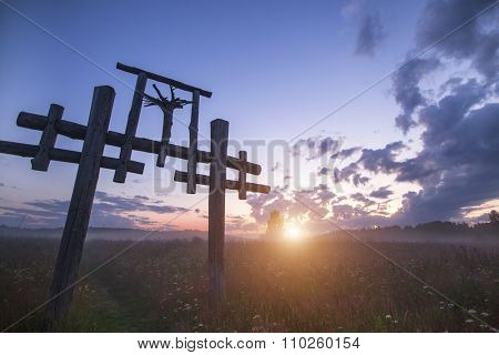 Totem in the Village of Old Believers in the Russian outback during sunset.