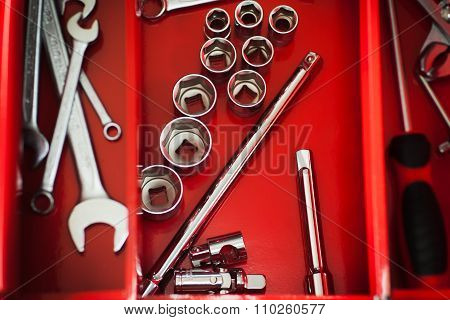 Repairman Red Toolbox With Wrench Kit