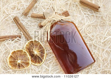 Homemade liqueur with spices