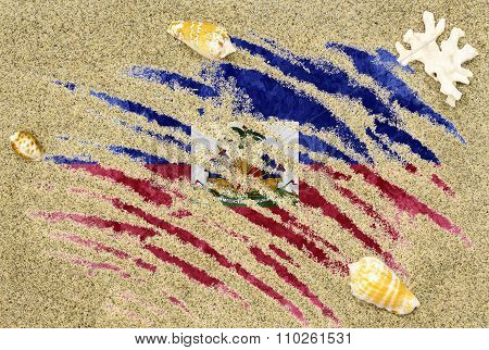 Flag Of Haiti Under A Beach Background