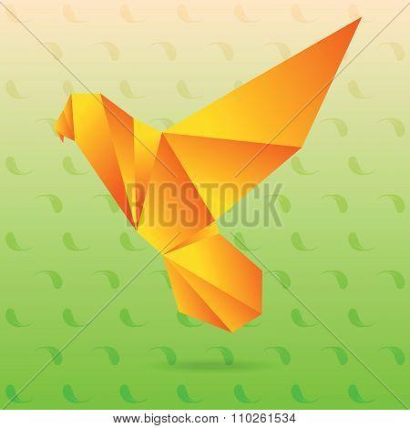 Yellow lovebird origami