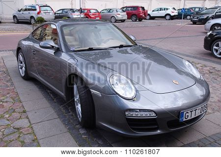 Metallic Porche Car On The Street, Vilnius, Lithuania.