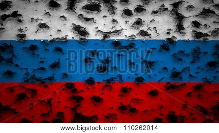 Flag of Russia, Russian Flag painted on wall with bullet holes