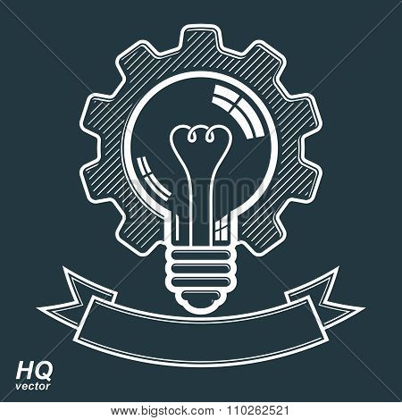 Vector Light Bulb With A Cog Wheel. Manufacturing Innovation Symbol With Curvy Decorati