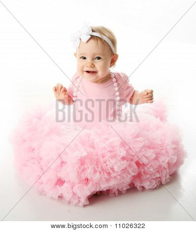baby girl wearing pettiskirt tutu and pearls poster id 11026322