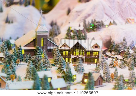 Miniature Of Winter Scene With Christmas Tree