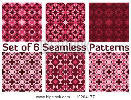 Set Of 6 Fashionable Geometric Seamless Patterns With Triangles And Squares Of Burgundy, Purple, Che