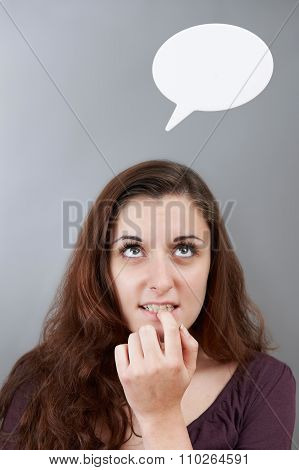 Anxious Teenage Girl With Thought Bubble Above Head