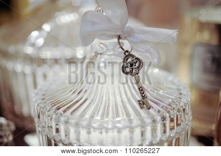 Glass Casket Close Up With Key