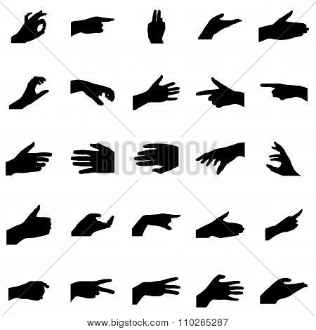 Hands silhouettes set. Hands silhouettes vector. Hands silhouettes illustration. Hands silhouettes collection. Hands icons. Hands icons vector. Hands icons art. Hands icons set. Hands icons collection