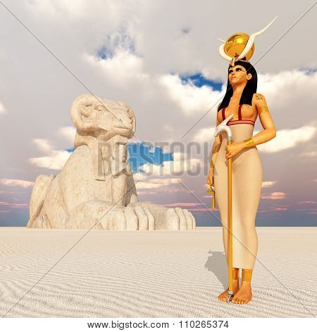 Sphinx and the goddess Hathor