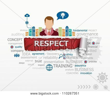 Respect Concept Word Cloud And Business Man.
