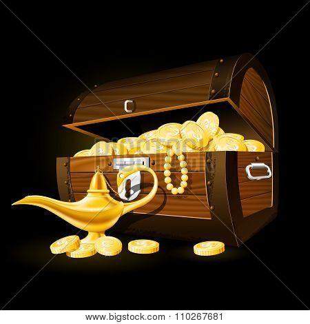 Treasure chest of coins and Aladdin's magic lamp