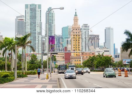 MIAMI,USA - AUGUST 5,2015 : Biscayne Boulevard in Miami with several city landmarks