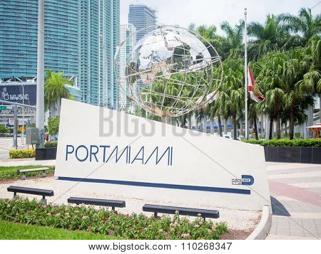 MIAMI,USA - AUGUST 5,2015 : Port of Miami sign at Biscayne Boulevard in downtown Miami