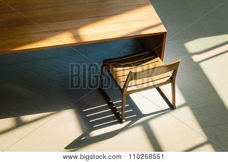 Light And Shadow On Wooden Chair And Table