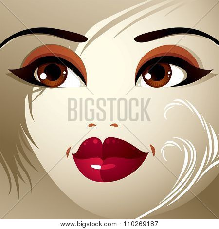Parts Of The Face Of A Young Beautiful Lady With A Bright Make-up, Lips, Eyes And Eyebrows.
