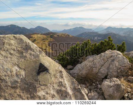 Hiking Stamp On Rock