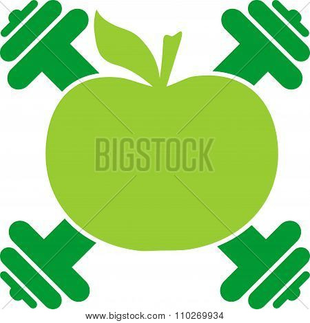 Apple Silhouette And Dumbbells. Bodybuilding Coat Of Arms
