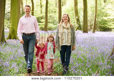 Family Walking Through Bluebell Woods Together