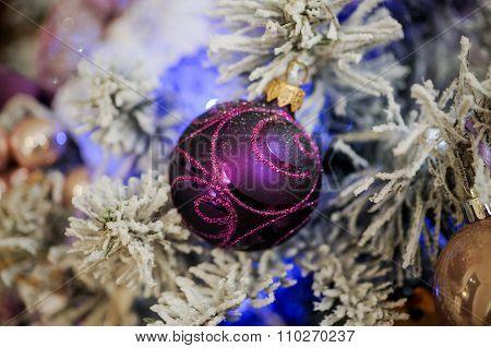 Purple Christmas Balls Hanging On Tree