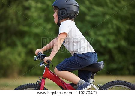 Happy kid with bicycle and a helmet