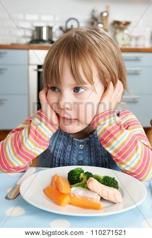 Fussy Young Girl Not Eating Healthy Lunch