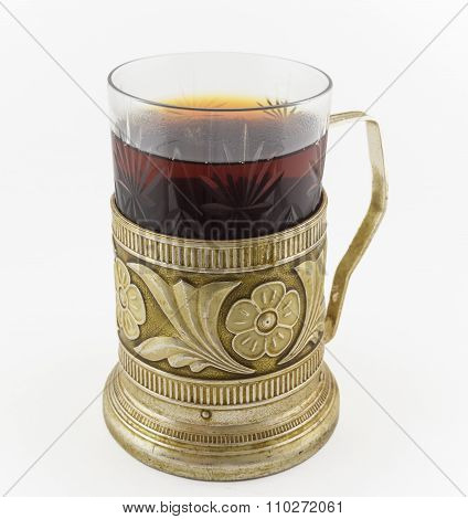 Glass Of Russian Tea In Vintage Glass-holder Podstakannik