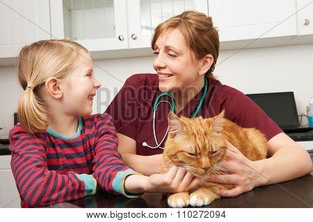 Girl Taking Pet Cat To Vet For Examination
