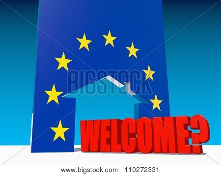 Welcome To European Union Under Question And Home Icon