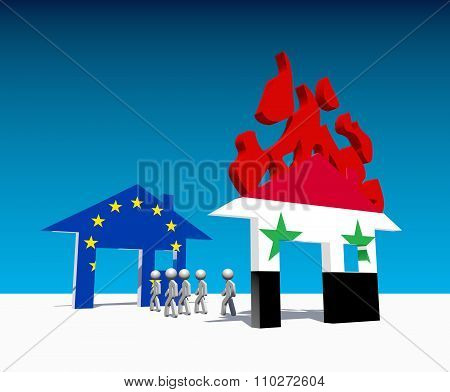 Humans Escape From Home Under Fire Textured By Syria Flag