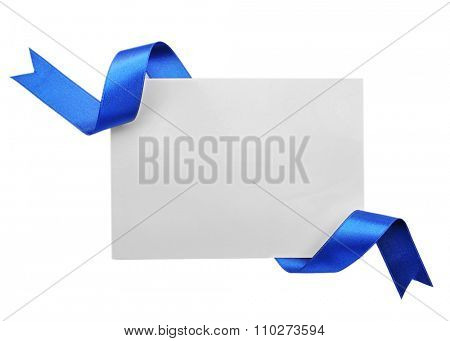Card with dark blue satin ribbon isolated on white
