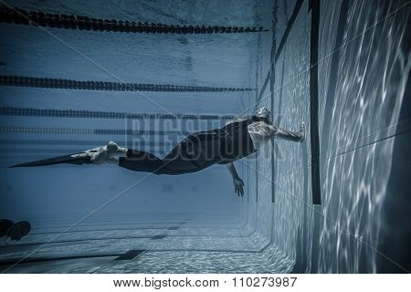 Montreal CANADA - May 30th 2015. Official AIDA Freediving Pool Competition Taking place in the Parc Jean-Drapeau Olympic Pool. Dynamic With Fins (DYN) Performance from Underwater
