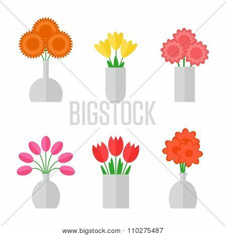 Flower bouquet isolated icons on white background.