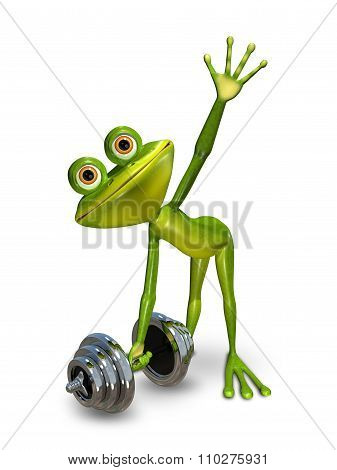 Frog Lifts A Dumbbell