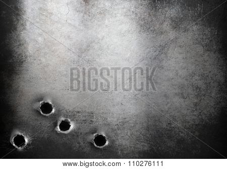 grunge metal armor background with bullet holes