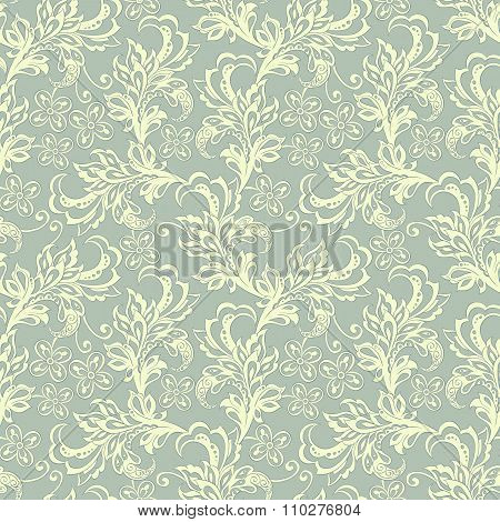 vintage flowers seamles pattern. floral vector background