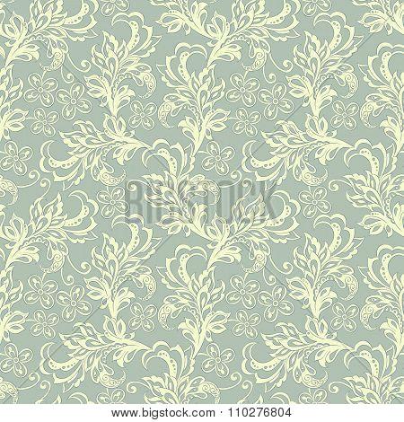 vintage flowers seamles pattern. floral vector background