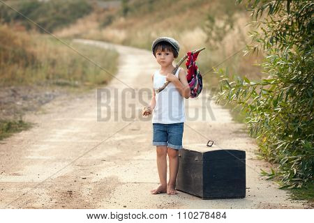 Cute Little Boys, Holding A Bundle, Eating Bread And Smiling, Walking Bare Feet On A Dusty Road
