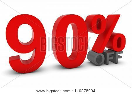 90% Off - Ninety Percent Off 3D Text In Red And Grey