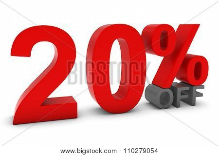 20% Off - Twenty Percent Off 3D Text In Red And Grey