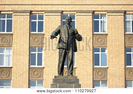 Lenin Monument And Administration Building In Orel, Russia