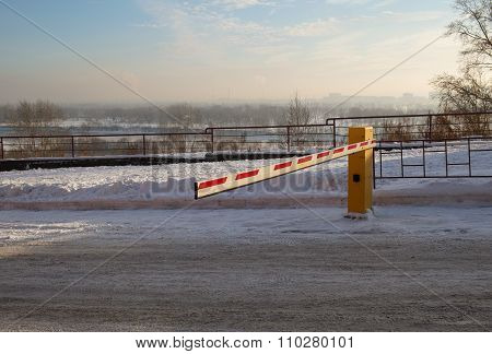 Vehicle security barrier on parking in winter