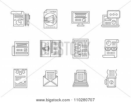 Web publications line icons vector collection
